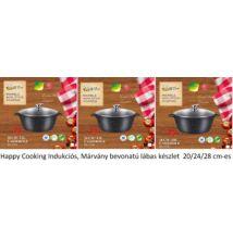 Happy Cooking Indukciós, Márvány bevonatú lábas készlet 20/24/28 cm-es (RS-1197/98/99)