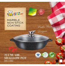 Happy Cooking Indukciós Alacsony lábas fedővel 32 cm-es (RS-1202)