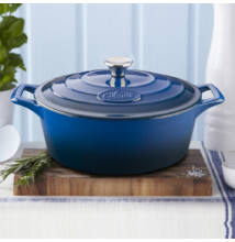 La Cuisine Blue öntöttvas ovális lábas fedővel 29 cm-es (432021)