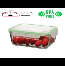 Hőálló Üveg Ételtároló szilikonos műanyag fedővel 0,8 l-es (RS-59564)