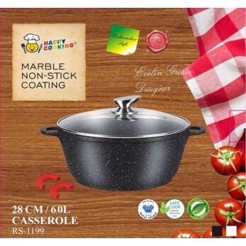Happy Cooking Indukciós, Márvány bevonatú lábas 6 l-es (RS-1199)