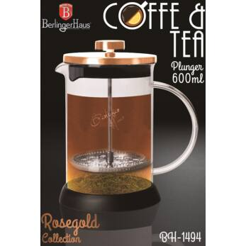 Berlinger Haus Rose Gold Dugattyús Kávé- Teafőző 600 ml-es (BH-1494)