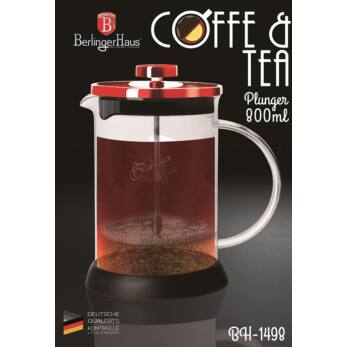 Berlinger Haus Burgundy Dugattyús Kávé- Teafőző 800 ml-es (BH-1498)