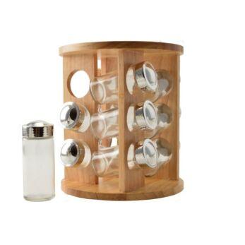 Perfect Home forgatható fűszertartó 12 db-os+fa állv.  ( 13033)