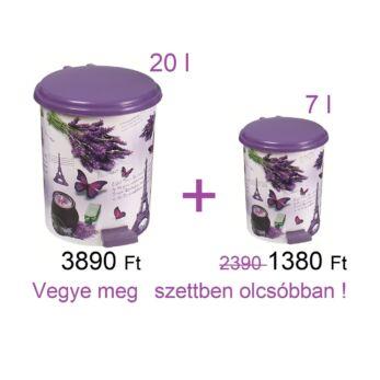 Levendula mintás pedálos szemetes szett 20 + 7 l (Párizs-370-20/7)