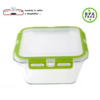 Hőálló Üveg Ételtároló szilikonos műanyag fedővel 2,4 l-es (RS-59016)